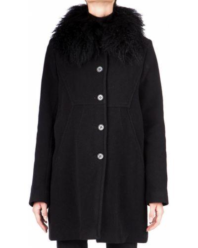 Шерстяное черное пальто с капюшоном Iceberg