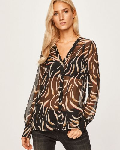 Блузка с длинным рукавом с V-образным вырезом черная Morgan
