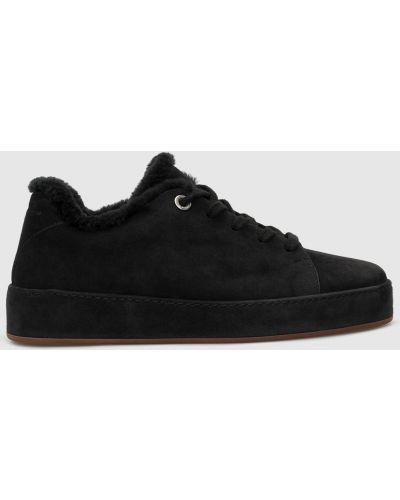 Замшевые кроссовки - черные Loro Piana