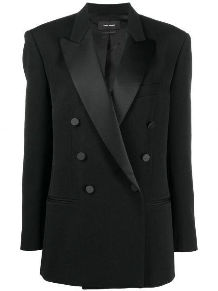 Черный удлиненный пиджак двубортный с карманами Isabel Marant