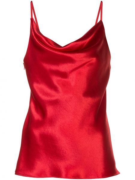 Сатиновый красный топ с декольте с драпировкой Sies Marjan