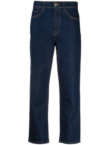Хлопковые синие укороченные джинсы с нашивками на молнии Twin-set