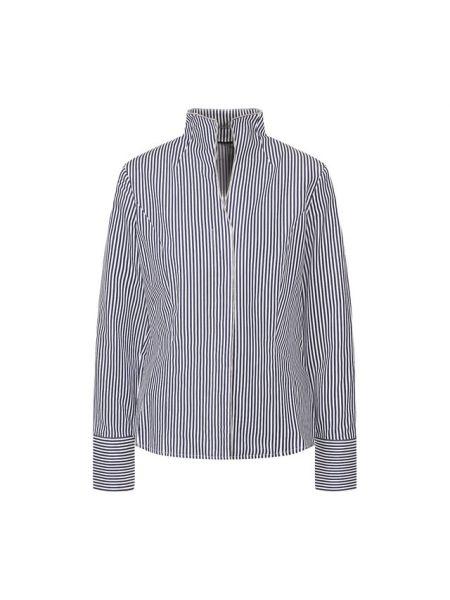 Синяя приталенная рубашка с воротником с V-образным вырезом Van Laack