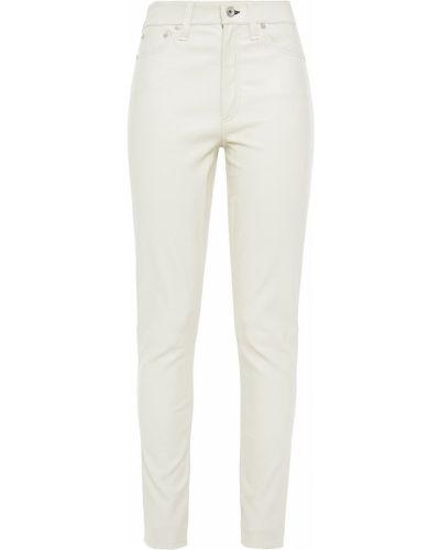 Białe spodnie skorzane z paskiem Rag & Bone
