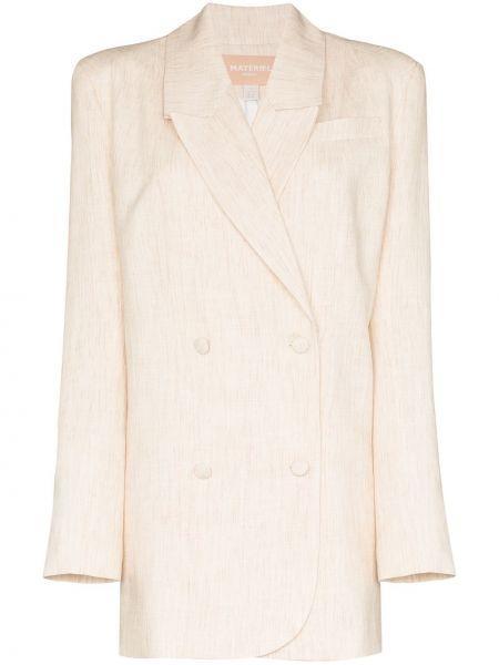Бежевый пиджак двубортный с карманами Matériel