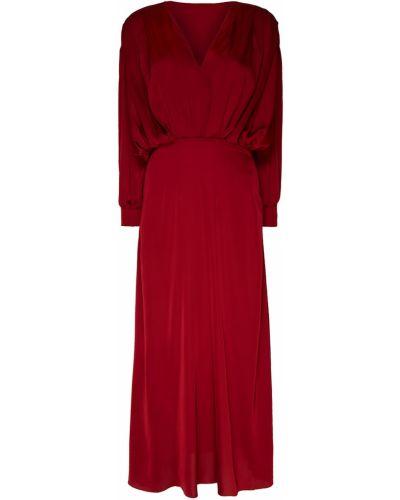 Шелковое красное платье макси с драпировкой ли-лу