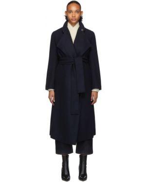 Коралловое шерстяное длинное пальто с поясом с воротником Studio Nicholson