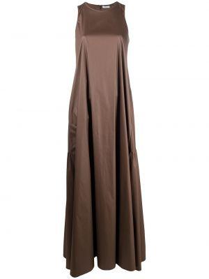 Коричневое платье макси с вырезом без рукавов Peserico