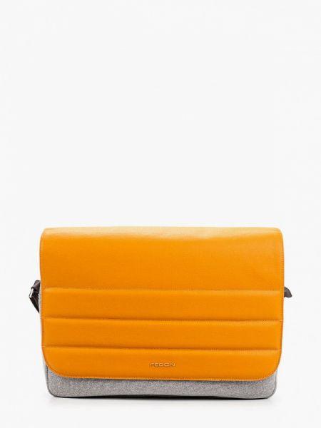 Оранжевая нейлоновая сумка через плечо Fedon 1919
