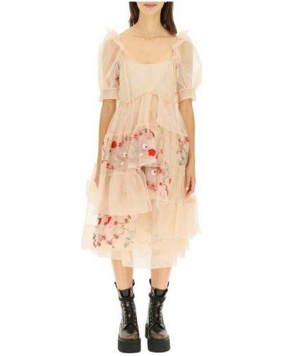Różowa sukienka z haftem Simone Rocha