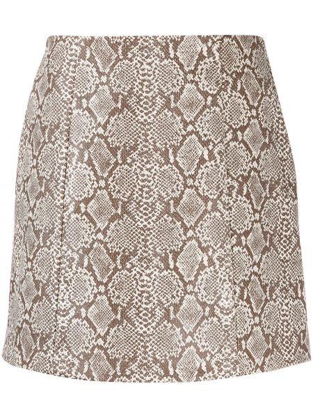 Коричневая прямая юбка на молнии из вискозы Alexa Chung