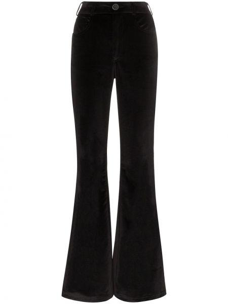 Черные расклешенные брюки с поясом на пуговицах Rockins