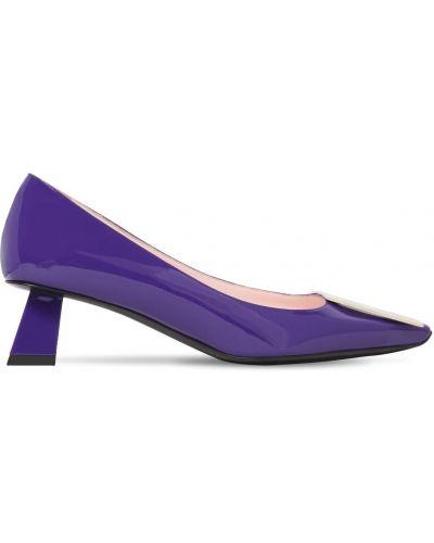 Фиолетовые кожаные туфли-лодочки на каблуке Roger Vivier