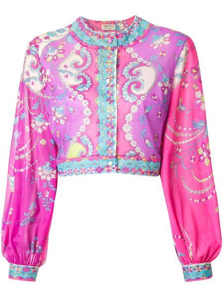 Шелковый розовый топ винтажный с круглым вырезом Emilio Pucci Pre-owned