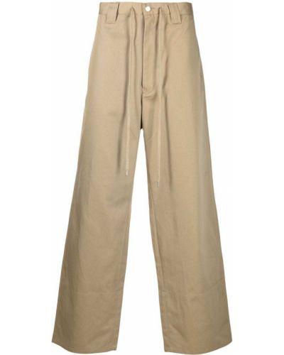 Beżowe spodnie z wysokim stanem bawełniane Facetasm