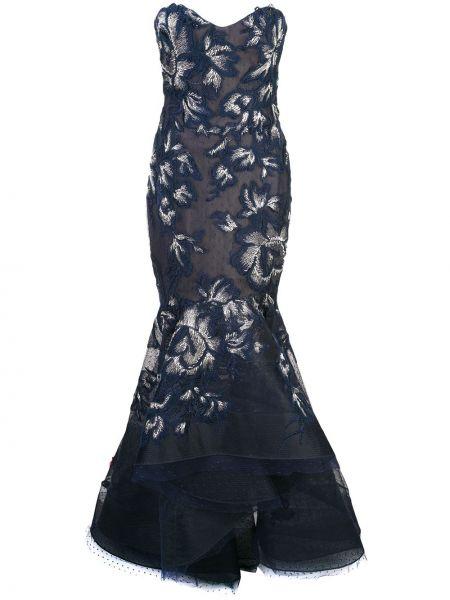 Вечернее платье с вышивкой - синее Marchesa