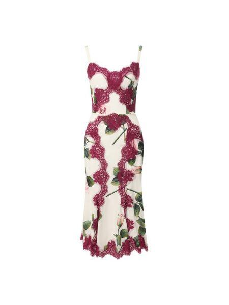 Расклешенное приталенное шелковое платье с декольте Dolce & Gabbana