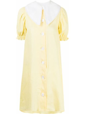 Lniana biała sukienka mini krótki rękaw Sleeper