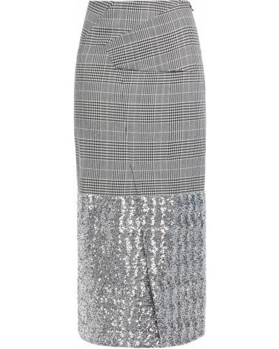 Szara spódnica midi z cekinami wełniana Roland Mouret