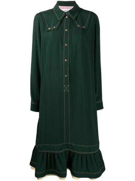 Шелковое зеленое платье макси трапеция Lanvin