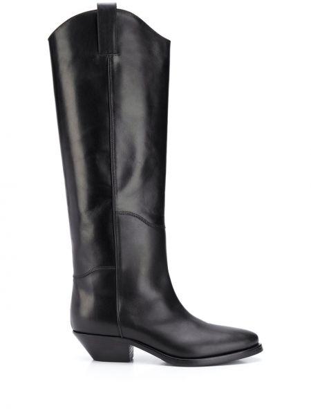 Czarny kowboj buty z ostrym nosem z prawdziwej skóry na pięcie Parosh