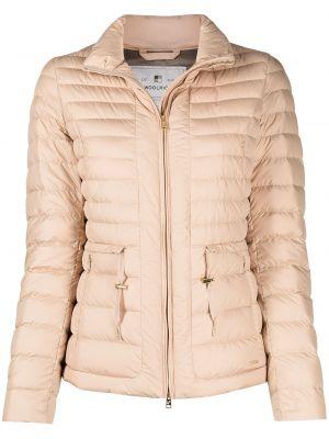 Пуховая бежевая теплая длинная куртка Woolrich