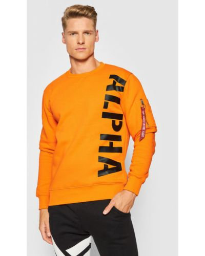 Bluza z nadrukiem z printem - pomarańczowa Alpha Industries