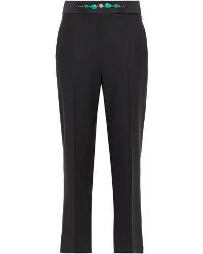 Шерстяные черные укороченные брюки с карманами Paul Smith