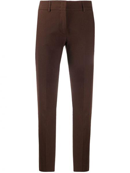 Хлопковые брючные коричневые брюки стрейч Piazza Sempione