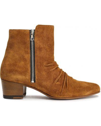 Brązowe ankle boots zamszowe kaskadowe Amiri