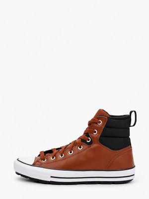 Кожаные высокие кеды - коричневые Converse