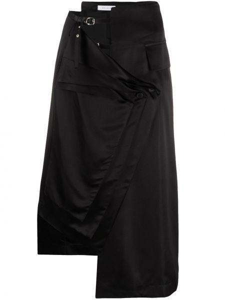 Шелковое черное платье с запахом с карманами Delada