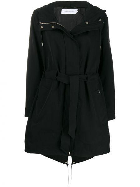 Черное длинное пальто Calvin Klein