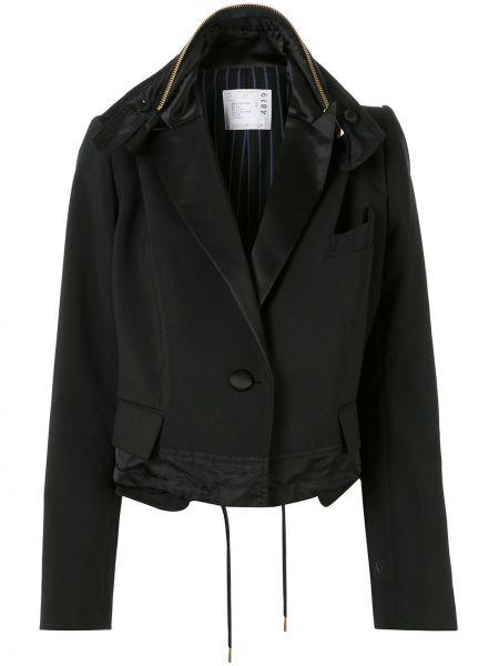 Черный удлиненный пиджак оверсайз с карманами Sacai