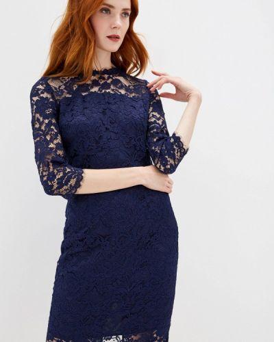 Вечернее платье осеннее синее Lusio
