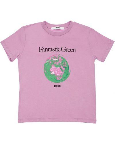 Fioletowy t-shirt bawełniany Msgm