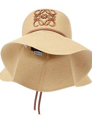 Beżowy kapelusz skórzany Loewe