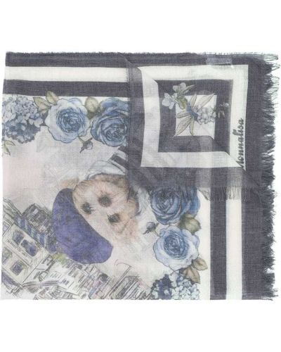Синий платок из вискозы с бахромой прямоугольный Monnalisa