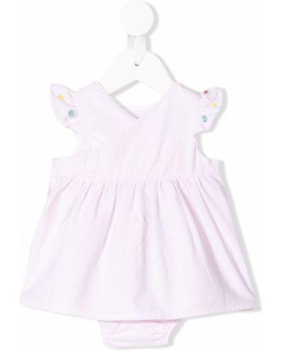 Розовое платье мини с вырезом с короткими рукавами круглое Knot