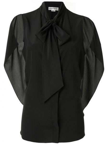 Шелковая черная блузка без рукавов с бантом с завязками Victoria Beckham