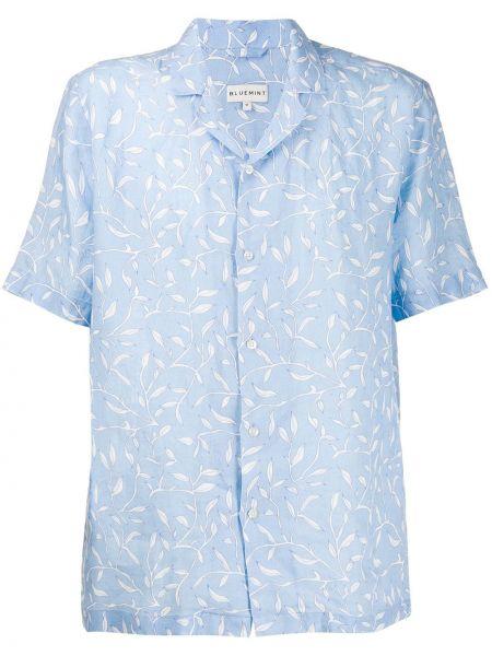 Niebieska koszula krótki rękaw z printem Bluemint