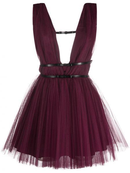 Фиолетовое платье А-силуэта без рукавов из фатина Brognano