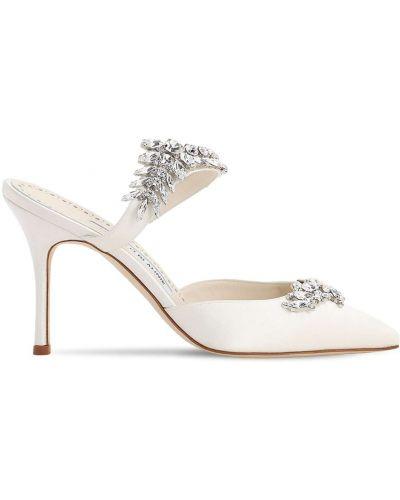Белые кожаные мюли на каблуке Manolo Blahnik
