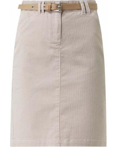 Beżowa spódnica w paski z paskiem Montego