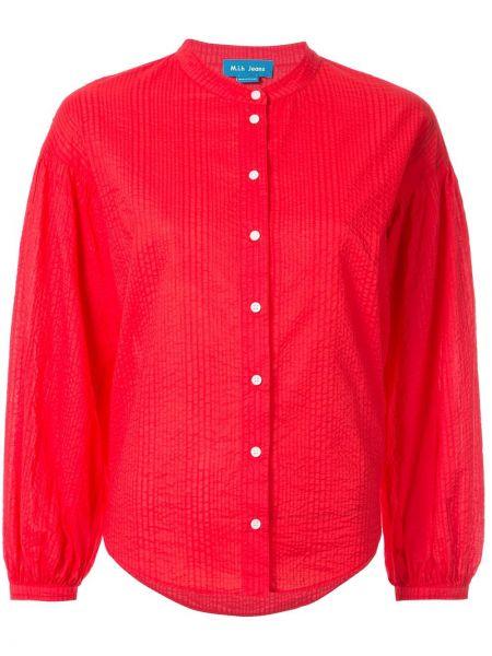 Джинсовая рубашка длинная - красная Mih Jeans