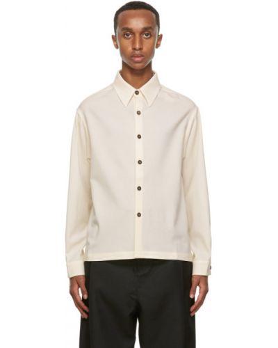 Шерстяная белая длинная куртка с манжетами с воротником Second/layer