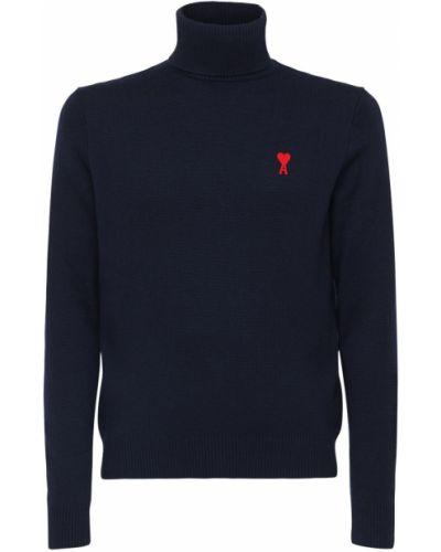 Wełniany sweter z haftem Ami Alexandre Mattiussi