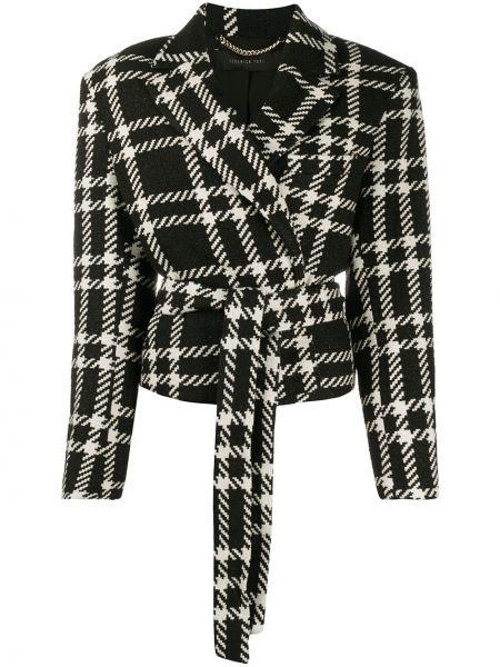 Шерстяной черный удлиненный пиджак в клетку Federica Tosi