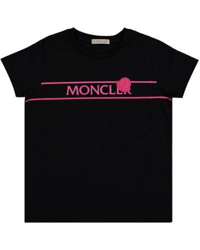 Хлопковая черная рубашка с заплатками Moncler Enfant