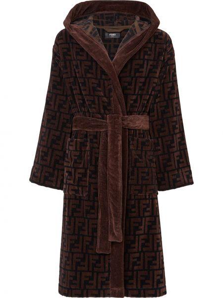 Махровый халат с капюшоном с принтом Fendi